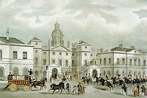 An old painting of the Horse Guards building.
