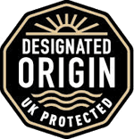 The scheme logo is a black stamp with the words Designated Origin UK Protected