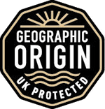 The scheme logo is a black stamp with the words Geographic Origin UK Protected